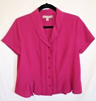 Croft & Barrow Women's Casual Career Pink Blouse Button down Short Sleeve Size M