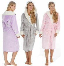 Forever Dreaming Ladies Shimmer Fleece Hooded Robe with Contrast Collar