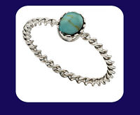 Turquoise Ring Sterling Silver Solitaire Ladies 925 Hallmark