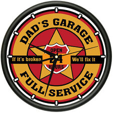 DAD'S GARAGE Wall Clock man room car mechanic auto repair shop gift