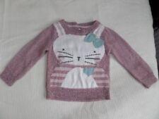Nutmeg Girls Purple Mix Rabbit Pattern Jumper Sweater Size 12-18 Months