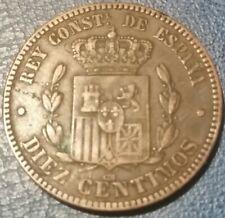 1878, Spagna (1877-1879), Alfonso XII, 10 Centimos, BB++