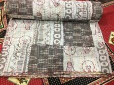 On Sale Kantha Quilt Handmade Beige Vegetable Queen Bedspread Blanket Throw.67