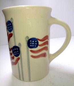 Emerson Creek Pottery Coffee Cup Mug Flag  Design U.S.A. 2012