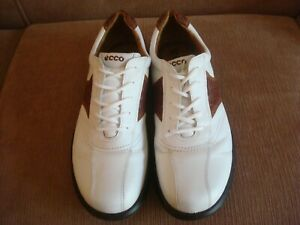 ECCO, PREOWNED GOLF SHOES, SIZE 43, ( 9-91/2), WHITE / BROWN BLK TRIM,