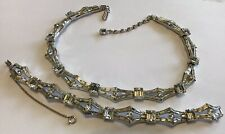 VINTAGE CROWN TRIFARI SIGNED CLEAR RHINESTONE NECKLACE AND BRACELET Z1