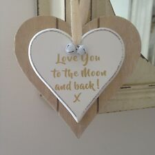 Shabby Chic Wooden Double Heart Home Decoration 'love You To The Moon And Back'