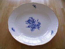 Meissen Platte Servierplatte Neumarseille weiß Goldrand Blaue Blume Käfer Insekt