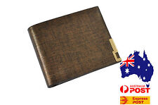 New Gold Edge Men's Coffee Faux leather Wallet purse Credit Card Holder Bifold