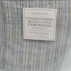 Restoration Hardware Belgian Vintage Stripe Lumbar Pillow Cover Shore Blue