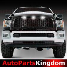 10-17 Dodge RAM 2500+3500 Raptor Style Gloss Black Mesh Grille+Shell+White LED