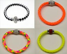 Bracelet Magnetique Tresse cuir, strass boucle, perle cristal, Shambala
