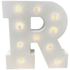 LED Wooden Letters Alphabet Sign Numbers Light up Wood Decorative White Standing R