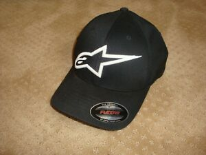 ALPINESTARS (ASTARS) Black Hat Cap, Adult Medium Flexfit Curved Bill NEW