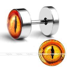 Plugs Illusion Earring Punk New Look 0G Steel Yellow Evil Eye Fake Cheater Ear