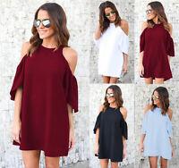 Ladies Casual off Shoulder Tops Shirt Loose T-shirt Blouse summer mini dress