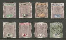 SIERRA LEONE 1896-7 MINT AND USED SELECTION OF 8 SOME FAULTS ,SEE SCANS CAT.£120