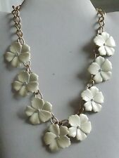 Jingly Jangly Gold Tone Chain & Enamel Flower Necklace