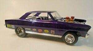 Vintage Car Model Nova Pro Street Machine 1966 AMT Built Dragster 1:25 Purple