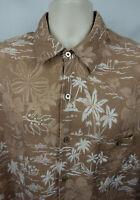 Tori Richard Mens XL Button Up Linen Hawaiian Camp Shirt 1 Pocket SS Palm Floral