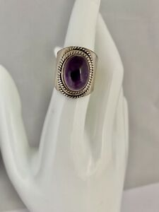 Vintage Silver Ring AMETHYST STONE CABOCHON Size 7