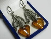 Huge Vintage Russian Soviet Earrings Sterling Silver 925 Baltic Amber USSR