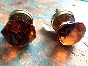 Anthropologie Drawer Door Knobs x2 Small Round Diamond Cut Amber Glass & Brass