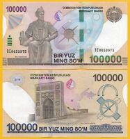 Uzbekistan 100000 (100,000) Sum p-new 2019 UNC Banknote