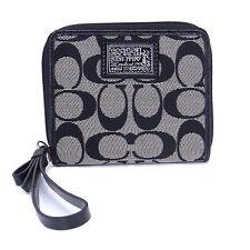NWT Coach Daisy Sign Medium Zip Around Wallet in Black White/Black F 49085