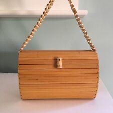 "Vintage Bamboo Purse Pocketbook Japan Hard Case Slats 8""x6"""