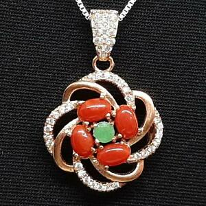 1.20ctw Coral, Emerald, & Diamond Cut White Sapphire 14K Rose Gold 925 Pendant