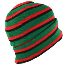 Long Striped Beanie Knit Hat Pan African Black Red Green