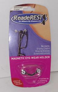 Readerest Magnetic Eye-Wear Holder, Silver ( Swarovski Crystals ) MADE IN USA