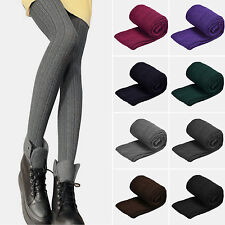 Women Cable Knitted Leggings Stretch Skinny Pants Winter Warm Stockings