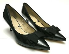 ADRIENNE VITTADINI Womens Sz 10 Black Patent Leather Bow Pointed Toe Pumps Heels