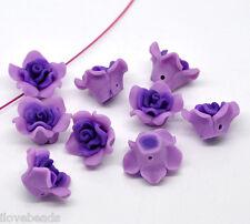 20 Purple Polymer Clay Flower Charm Beads 25x14mm