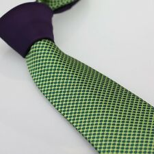COACHELLA Men's Ties Purple Knot Contrast Green Polka Dots Spots Woven Necktie