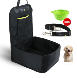 Cover Seat for Dog in Car  3 in 1 turn to Sleep Pad,  + Pet Buckle up Belt, Bowl