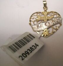 14 Karat Solid Yellow Gold Rhodium Accented Heart Cross MOM Pendant 19mm x 25mm