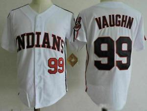 Men's INDIANS #99 Rick Vaughn Jersey High Quality Throwback White Shirt Jersey