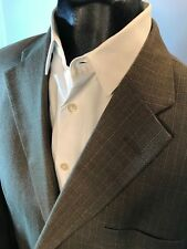MENS HAGGAR BLAZER JACKET SUIT COAT SZ. 44S WINDOWPANE PATTERN BROWN