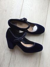 Collection At Debenhams Mary Jane Velvet Navy Shoes UK 3/36 Immaculate!