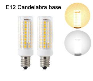 2/10x E12 Candelabra C7 LED bulb 102-2835SMD Ceramics Light 9W 110V White/Warm