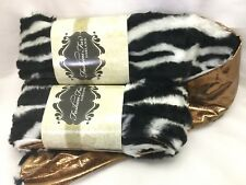 Lot of two 9ft Black & White Zebra Faux Fashion Fur Decorator Christmas Garland