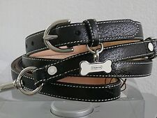 COACH BLACK LEATHER WITH WHITE BONE CHARM DOG COLLAR & LEASH SET M MEDIUM M