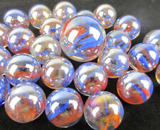 25 Marbles SUNRISE Red/Blue Vanes Clear Glass game pack vtg style Shooter