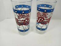 (2) Vintage Tiffany Style Stained Glass Pepsi Cola  16 oz. Drinking Glass 1970s