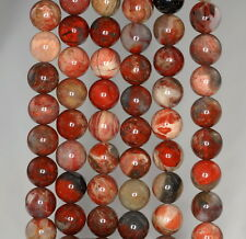 8MM RAINBOW BRECCIATED JASPER GEMSTONE BROWN ROUND LOOSE BEADS 15""