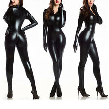 Women Faux Leather Glove Sock Zipper Catsuit Clubwear Bodysuit Riding Jumpsuit