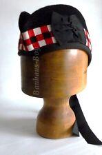 KILT GLENGARRY HAT WITH BLACK, RED & WHITE DICED BAND ALL SIZES FOR KILTWEAR NEW